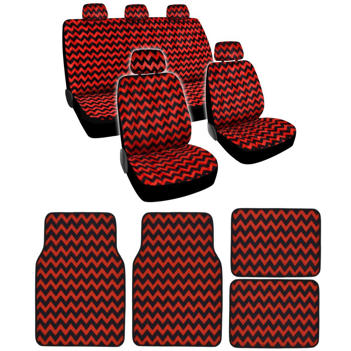 BDK Red Chevron Design Seat Covers and Carpet Floor Mats Complete Set