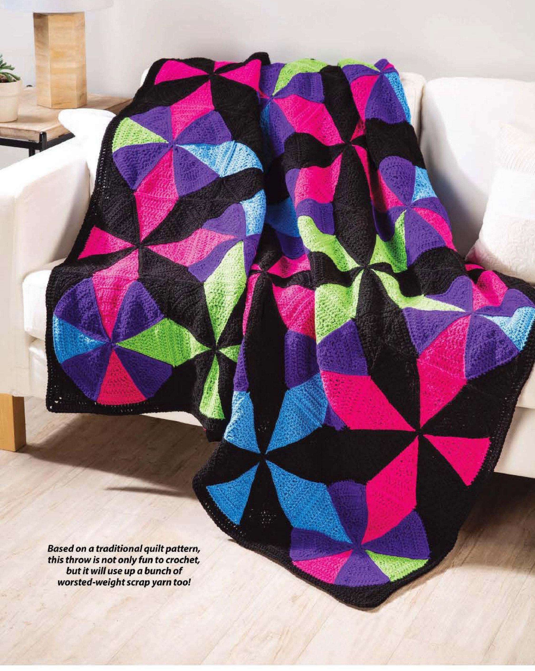 Crochet Blanket Pattern UK - Kaleidoscope Throw, Crochet