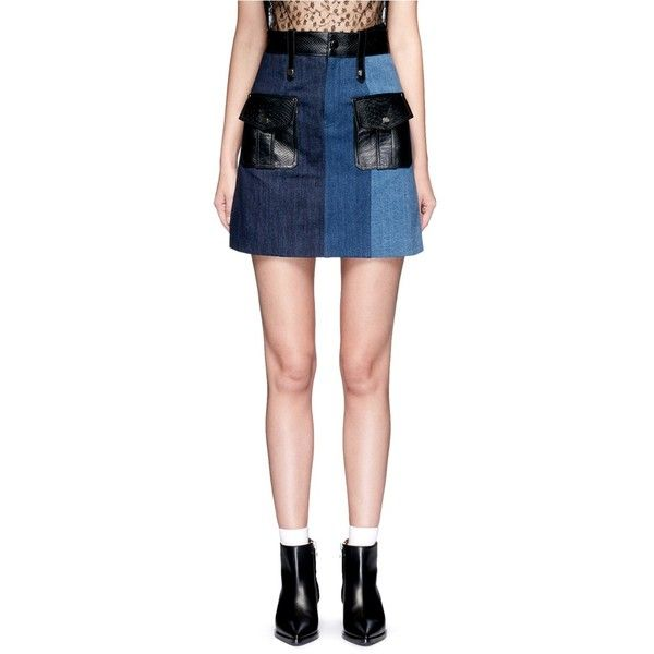 Jinnnn Snake effect leather patchwork denim skirt ($620) ❤ liked on Polyvore featuring skirts, blue, patchwork denim skirt, real leather skirt, snake skirt, denim skirt and patchwork skirts