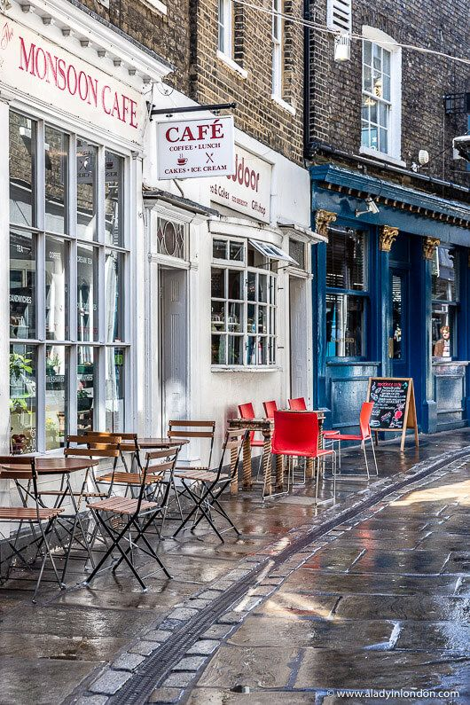 A pretty lane in London's Greenwich. This part of the UK capital is full of beautiful streets with little shops and cafes. Click through for more pictures on the A Lady in London blog.   #london #street #greenwich #cafes
