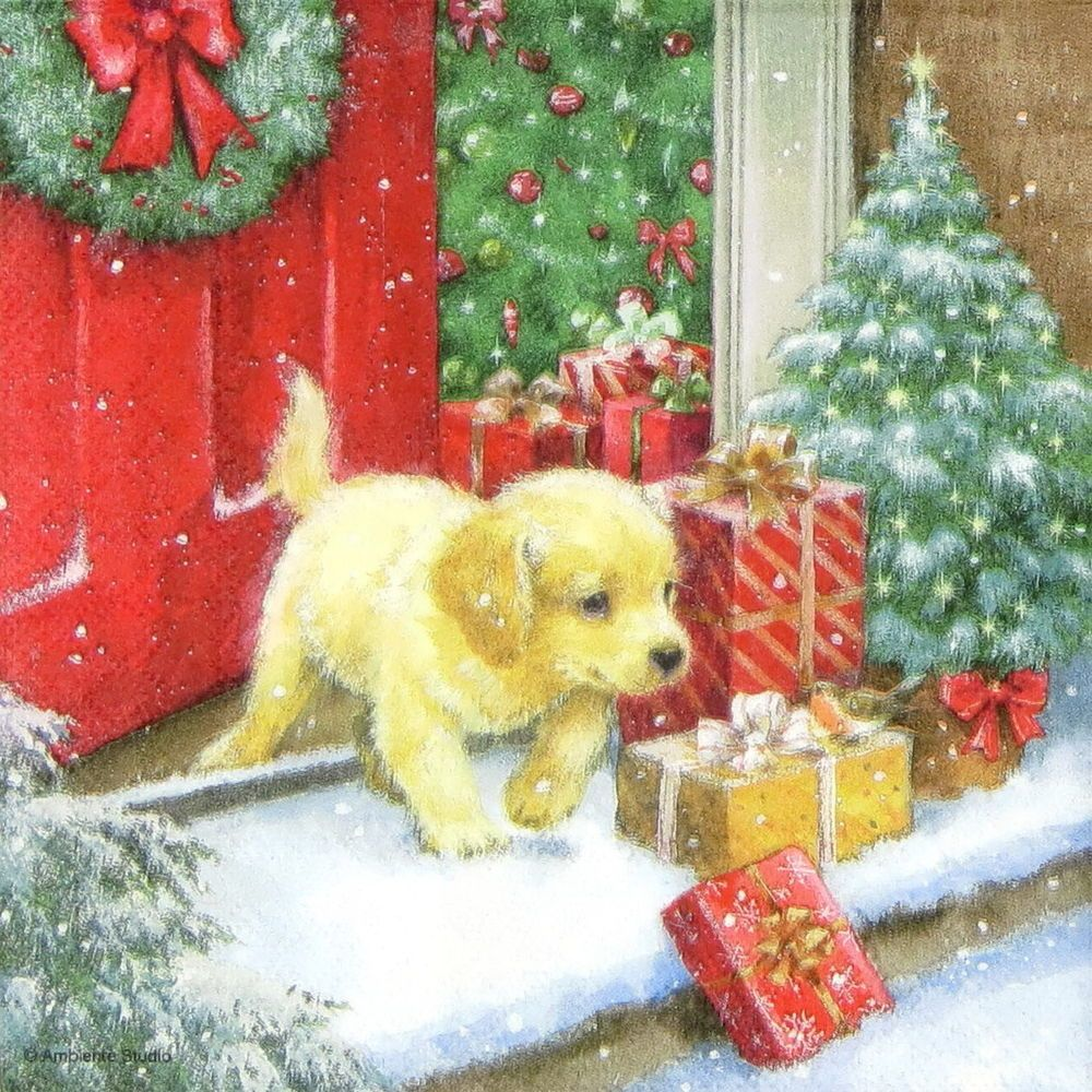 Xmas tree 4 Single paper decoupage napkins Christmas dog -X143 winter