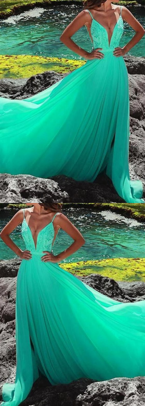 Green Sexy V-Neck Lace Formal Evening Dress A Line Women Prom Gowns ,PLus Size Formal Evening Dress With Split 1