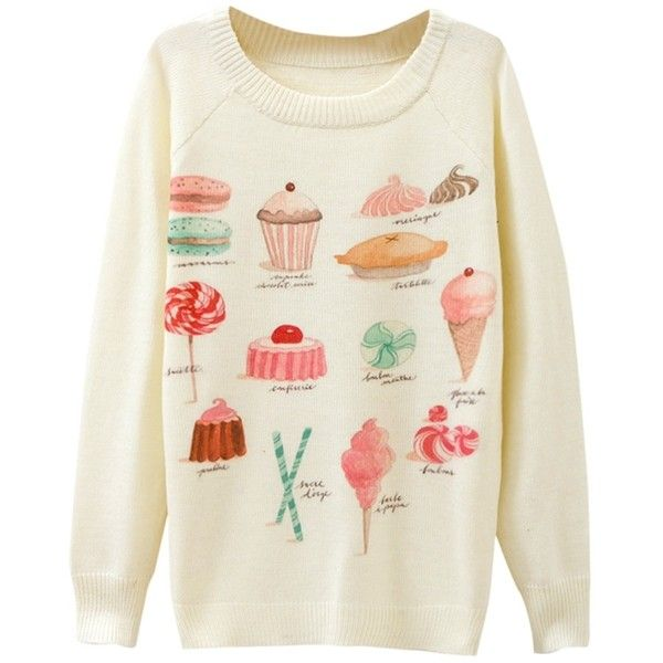 Ladies Cake Printed Crew Neck Pullover Sweater White (335 UAH ...