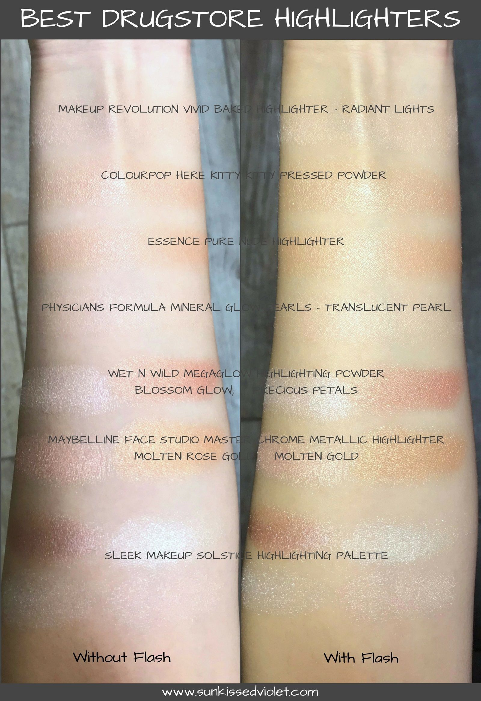 Best Drugstore Highlighters For An Instant Glow Swatches Review Sun Kissed Violet Drugstore Highlighter Best Drug Store Highlighter Best Highlighter