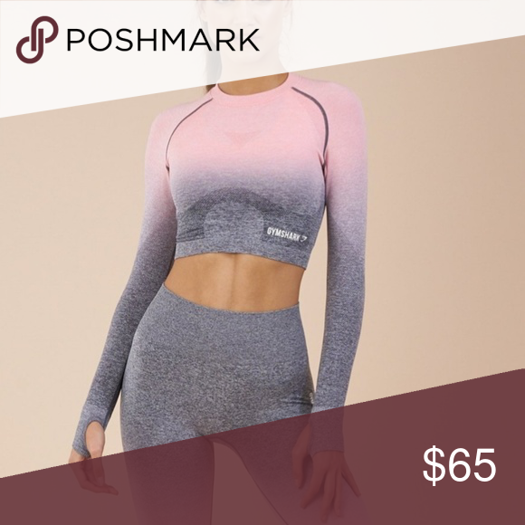 0c647d1e703a6 Gymshark Ombre Pink and Grey Crop Top Gymshark Ombre Pink and Grey Crop Top  It s brand new but the tags have been removed! gymshark Tops Crop Tops