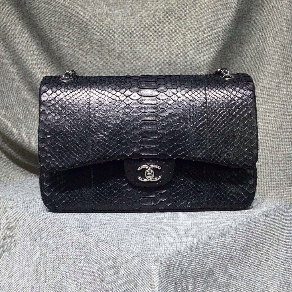 54c137e96ebe CHANEL Classic Flap Bag PYTHON BLACK A58600 Y10494 94305 for sale at  https