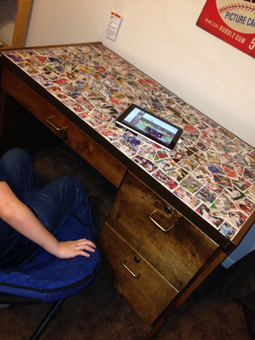 Baseball card topped desk