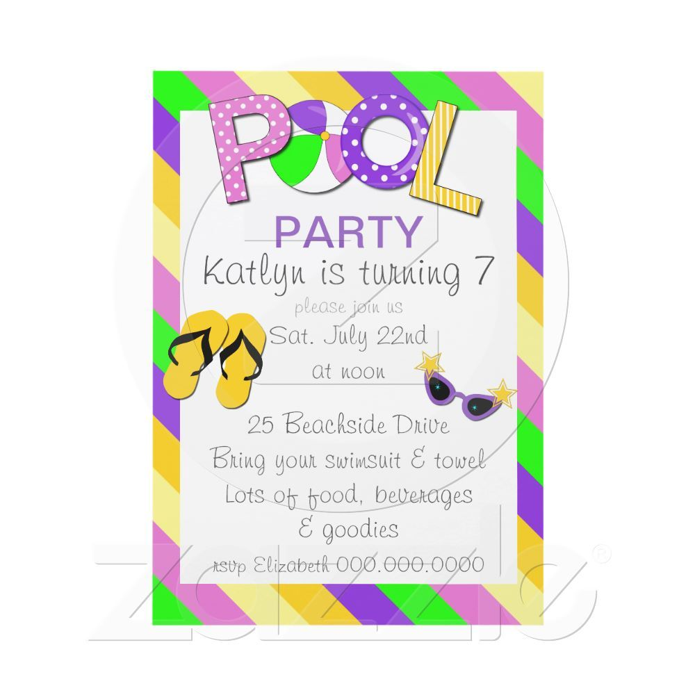 Pool party birthday party invitation only 170 per invite vibrant pool party birthday party invitation only 170 per invite vibrant colorsflip flops stopboris Image collections