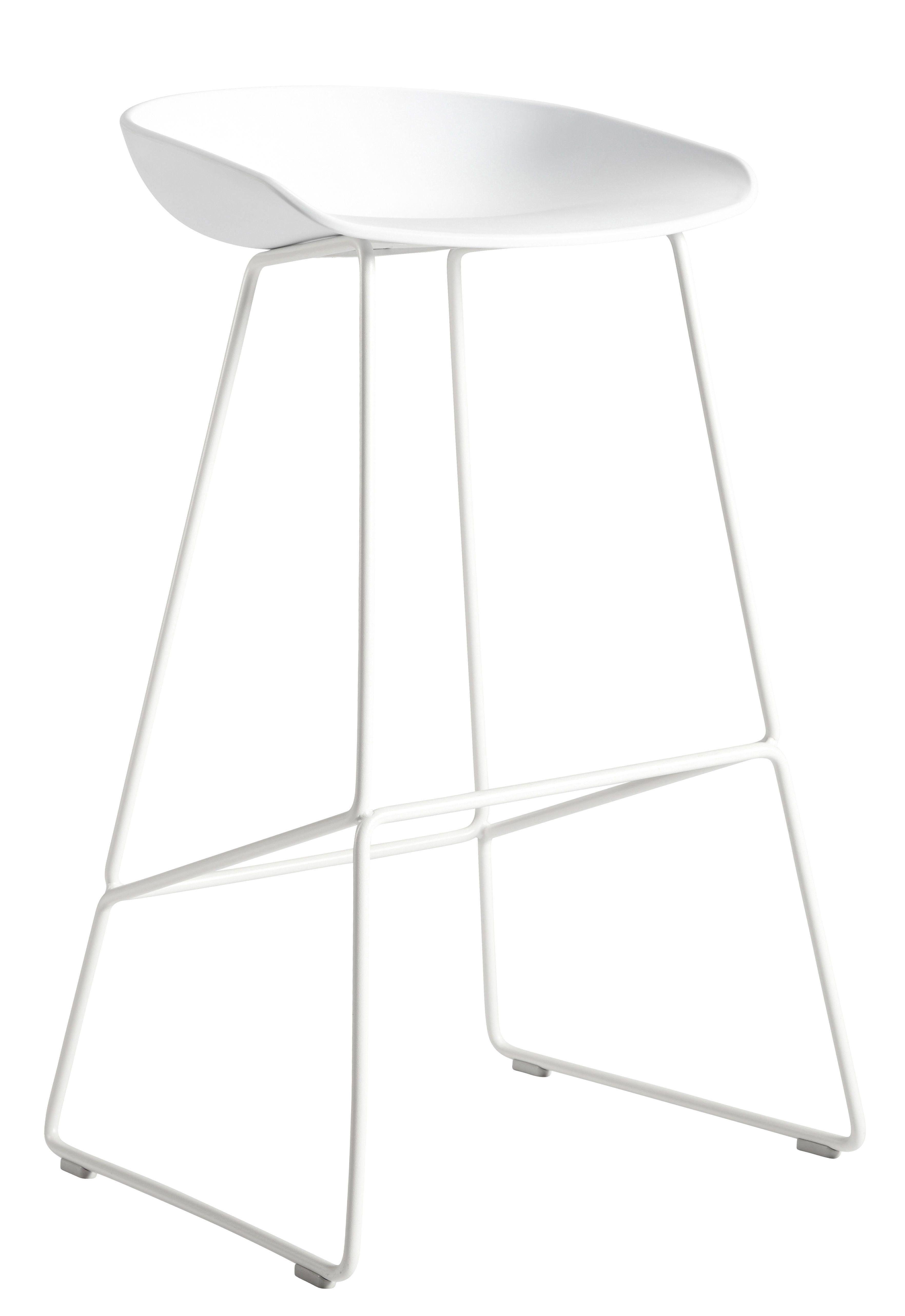 Tabouret de bar About a stool   H 65 cm - Piètement luge acier Blanc - Hay  - Décoration et mobilier design avec Made in Design 4904ee5f904d