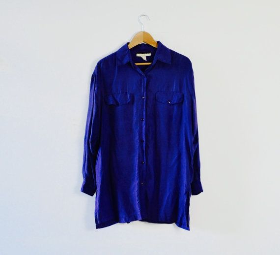 Vintage Midnight Blue Silk Blouse   Pure Silk by ElsieMoonVintage