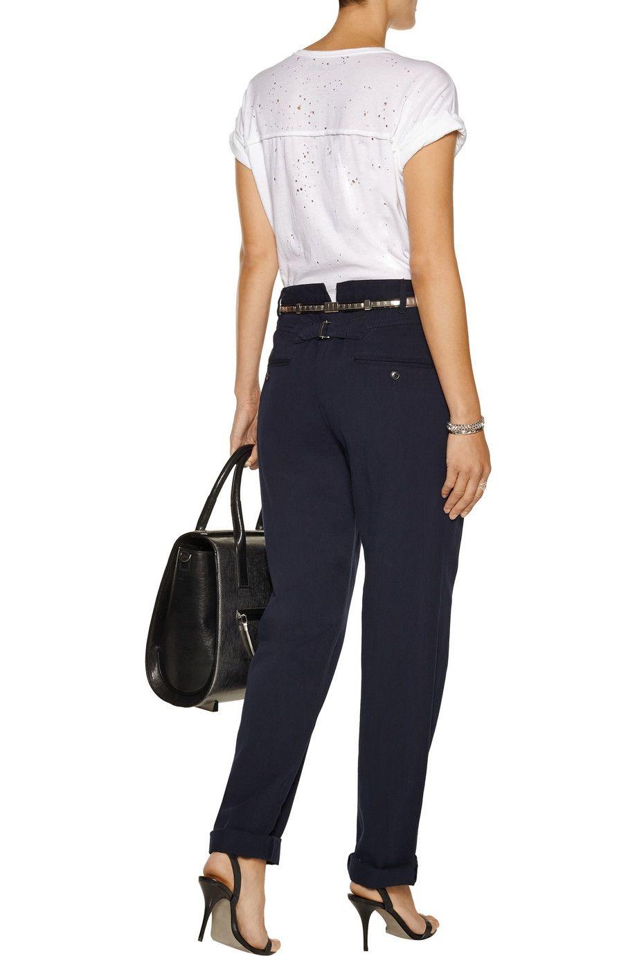 Étoile Isabel MarantWona cotton and linen-blend straight-leg pantsback