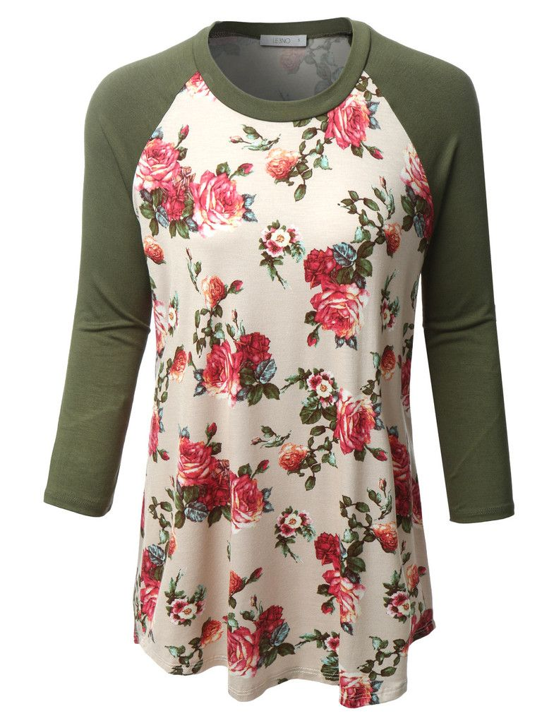 LE3NO Womens Plus Size Floral Print Round Neck 3/4 Sleeve Baseball ...