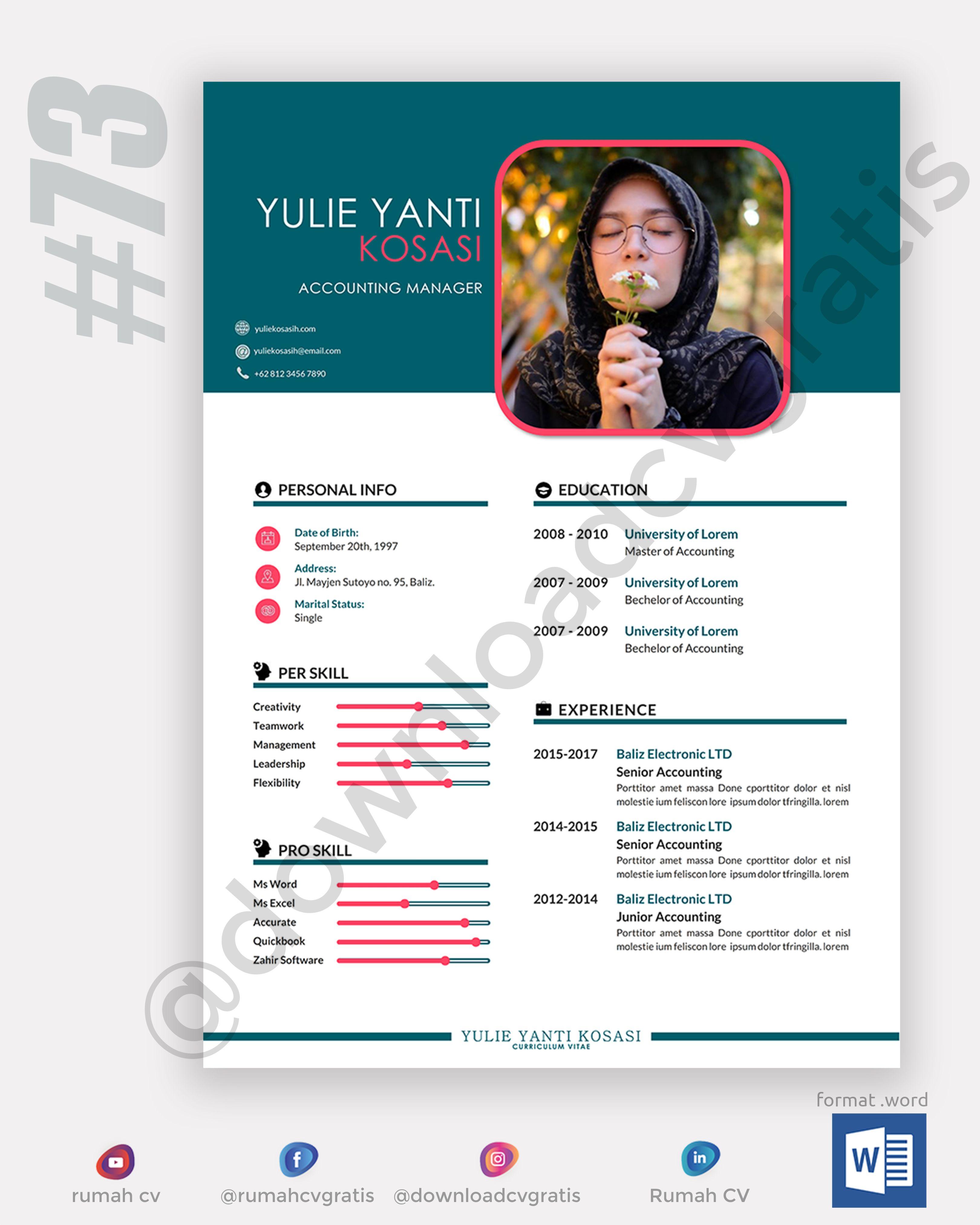 Contoh Cv Lamaran Kerja 73 Curriculum Vitae Examples Cv Examples Education