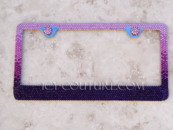 Pink to Purple Ombre Fade Swarovski BLING License Plate Frame ...