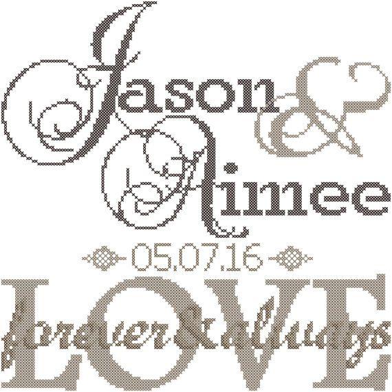Modern Wedding Cross Stitch Pattern Forever & Always Love   Wedding ...
