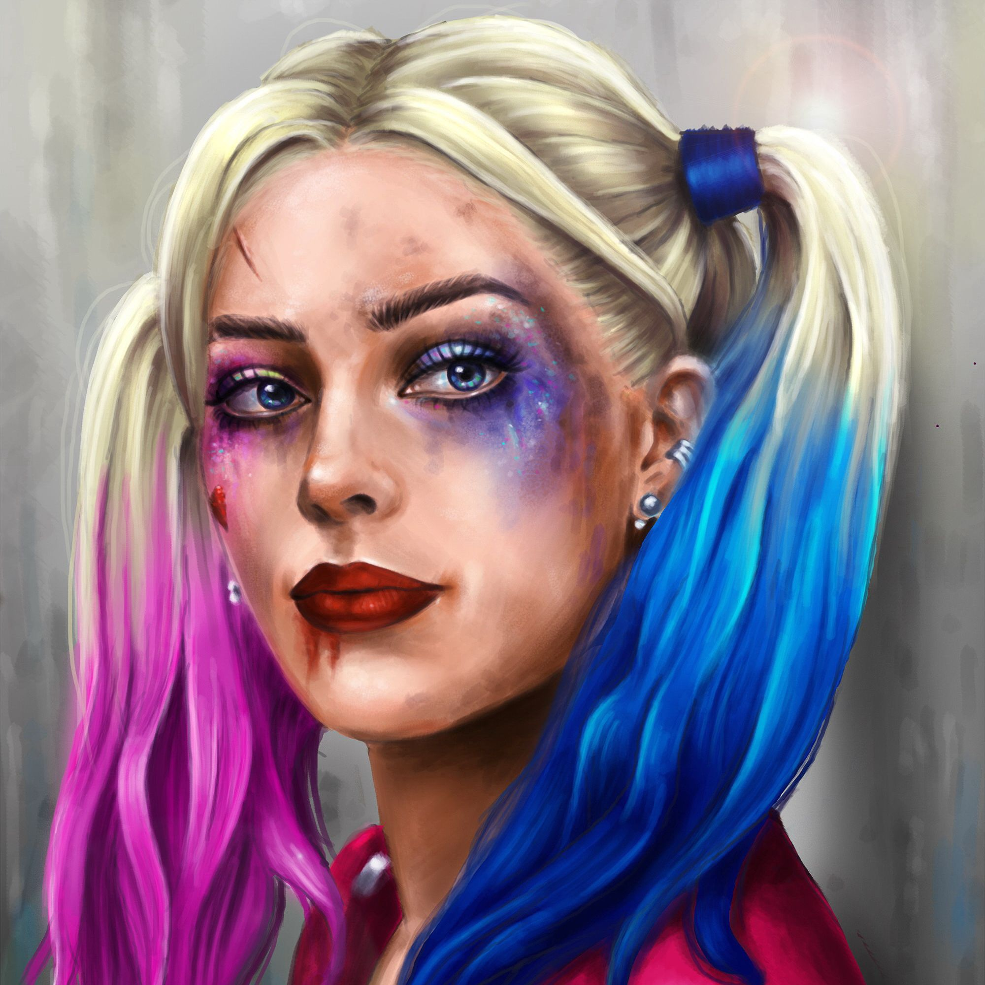 Harley Quinn Hero Face Makeup Blonde Girl Margo Robbie Suicide Squad Movies Girls | Harley ...