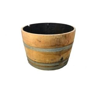 25 In Half Oak Barrel Planter B100 At The Home Depot Flip These Upside Down And Put Flowers On Top Barrel Planter Whiskey Barrel Planter Oak Barrel