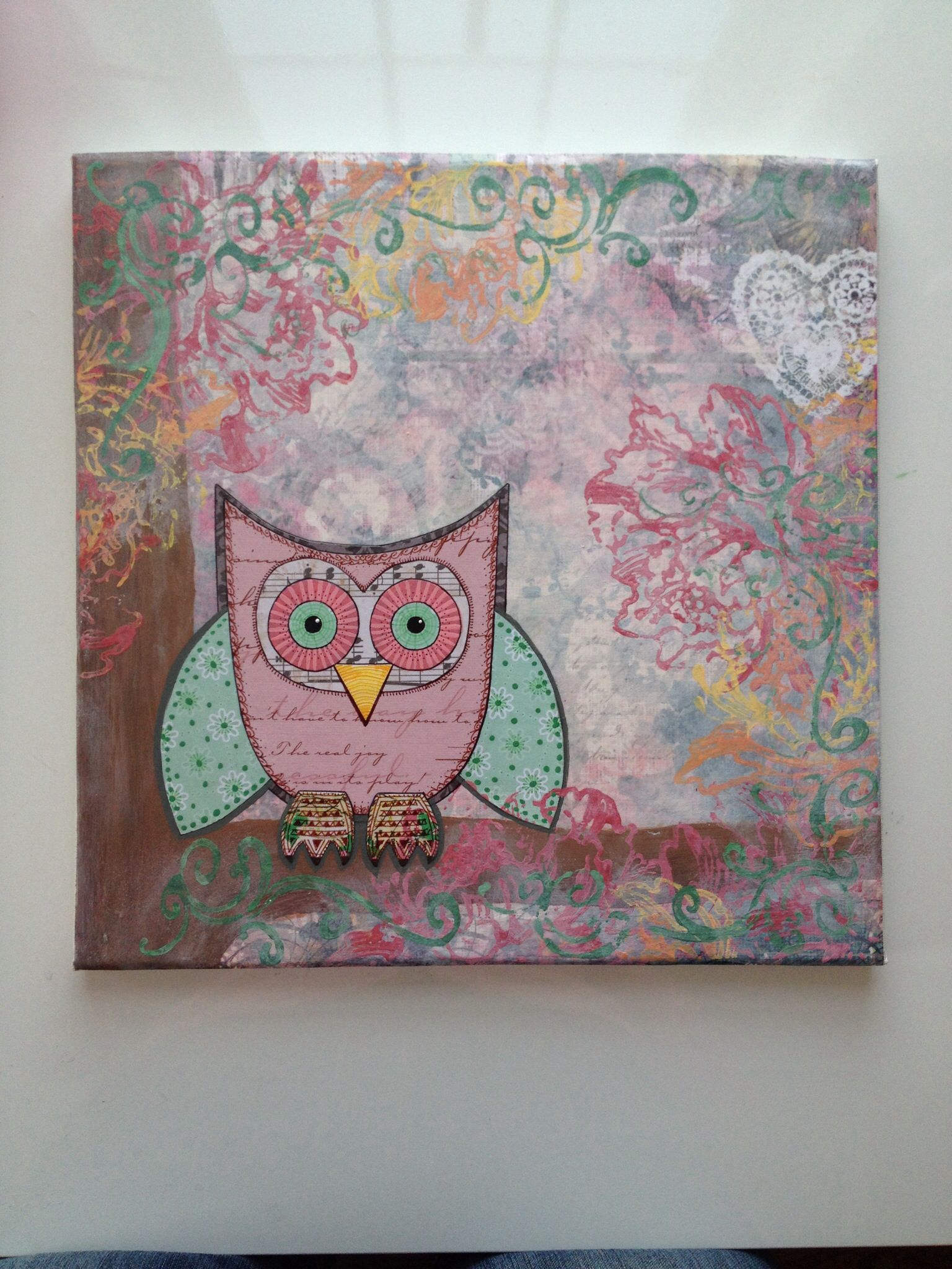 Owl always love youu mixed media painting made by me facebook