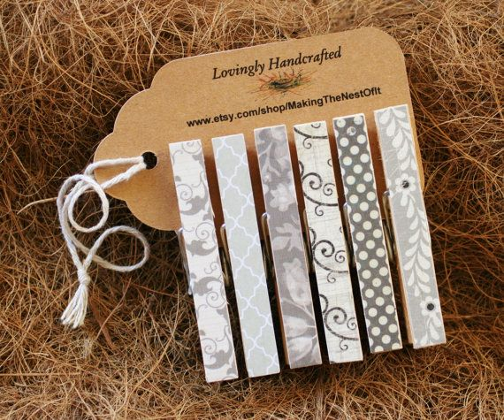Magnet Clothespins Gray and Black Set of 6 by MAKINGtheNESTofIT, $6.50