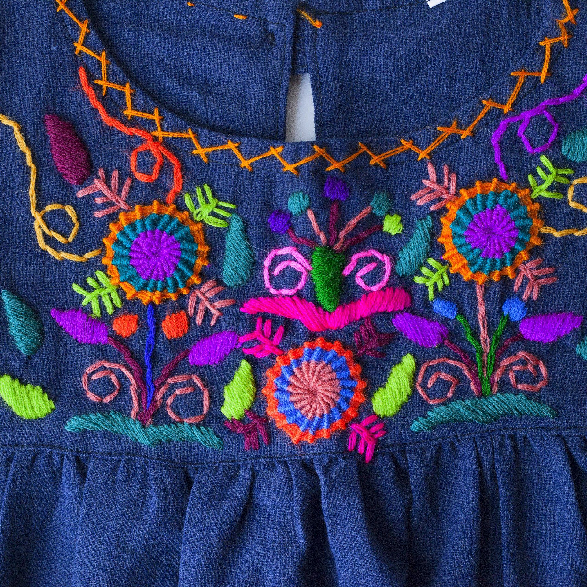 Guatemalan Girls Dress - Navy