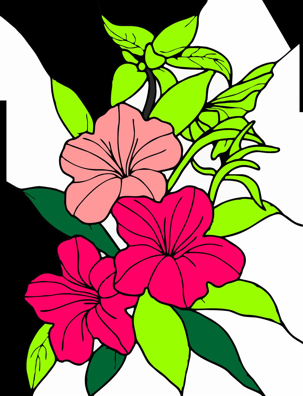 Contoh Gambar Bunga Kartun Dengan Gambar