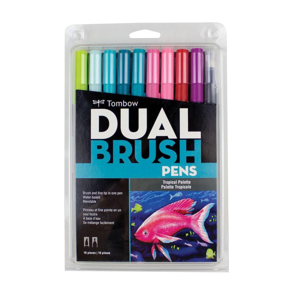 Tombow Abt Water Based Dual Brush Pen Set 10 Colors Watercolor
