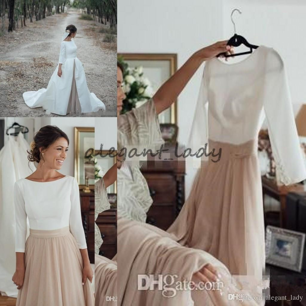 539ebdcebd2b 2018 Country Wedding Dresses with Detachable Skrit Jewel Neck A Line Long  Sleeves White Satin Champagne