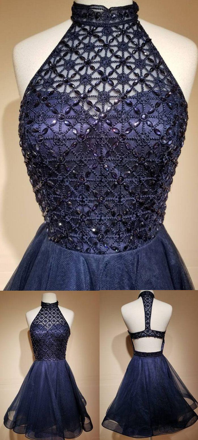 Custom made mini homecoming prom dress short navy dresses with criss