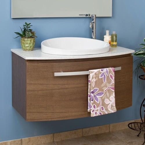 "40"" Walnut Ellesmere Wall-Mount Vanity for Semi-Recessed Sink and Mirror - Bathroom Vanities - Bathroom"