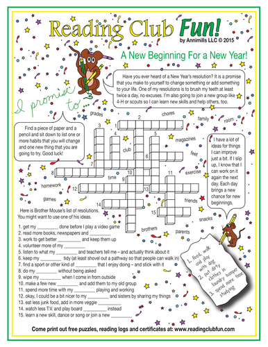 Happy New Year Resolutions Crossword Puzzle Printable Puzzles For Kids Newyear Christmas Puzzle