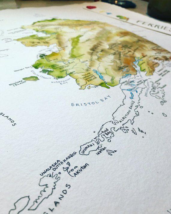 Northwest Anchorage Bechers Bay: Alaska Map Watercolor Illustration State Of Alaska