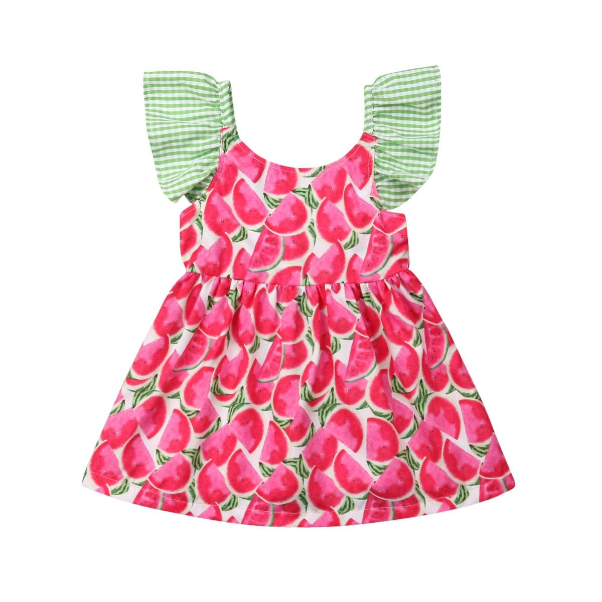 Summer Kids Baby Girl Fly Sleeve Fruit printing Dress Princess Party Dresses