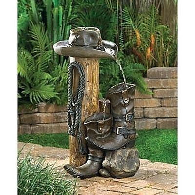 Cowboy Hat Boots Western Water Fountain Yard Statues Indoor Outdoor  Decoration