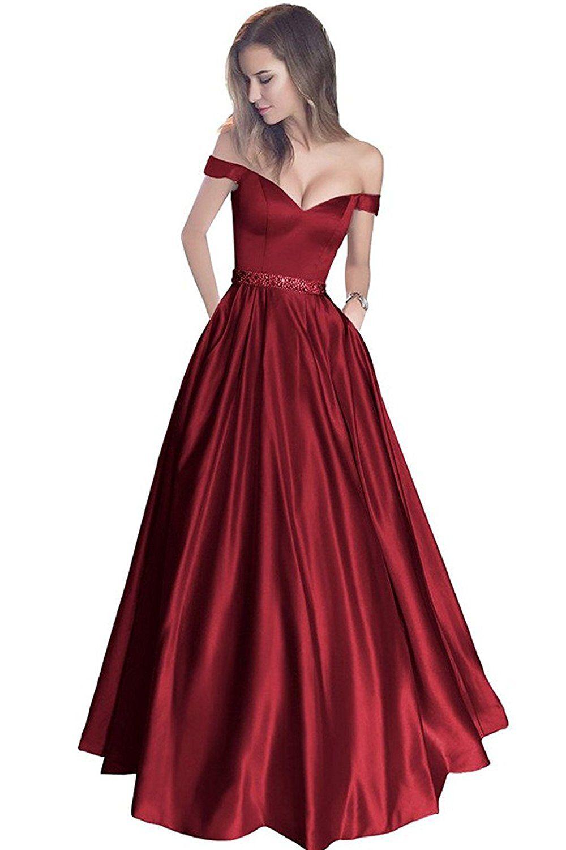 Lovingdress prom dresses satin a line off the shoulder evening