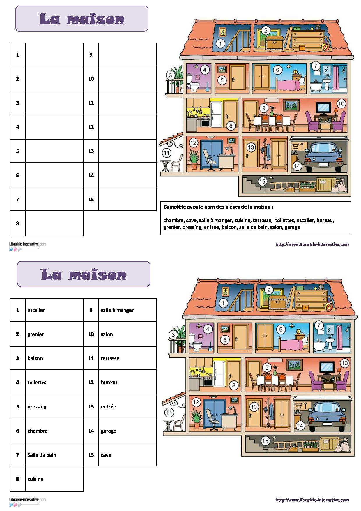 Une fiche pour d couvrir et retenir le vocabulaire de la maison fran ais cp ce1 - Jeux de cuisine en francais ...