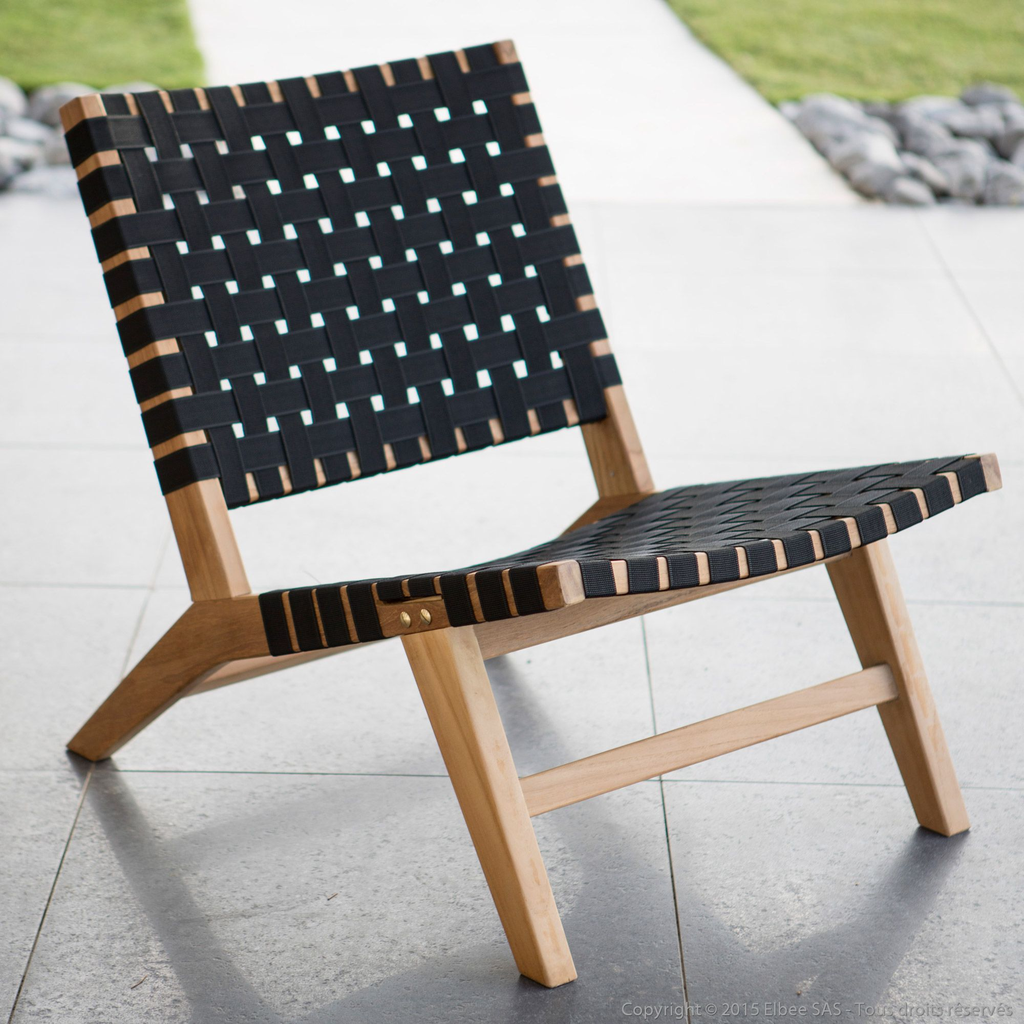fauteuil bas de jardin en teck brut et corde tress e ethnika ermanno g port offert coups de. Black Bedroom Furniture Sets. Home Design Ideas