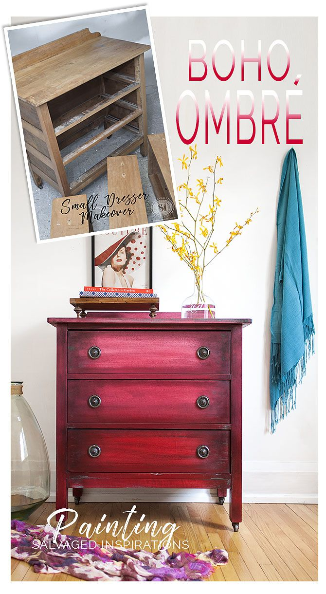 Boho Ombr Painting Effect on Small Dresser