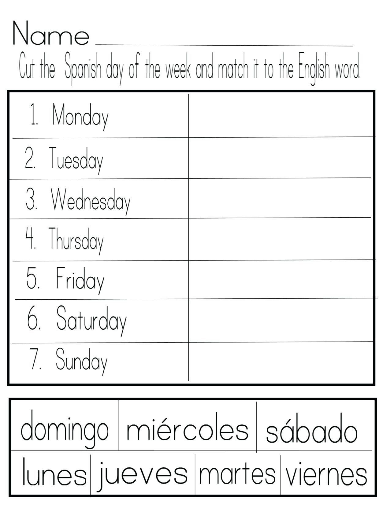 Spanish Colors Worksheet Worksheet In Spanish Free