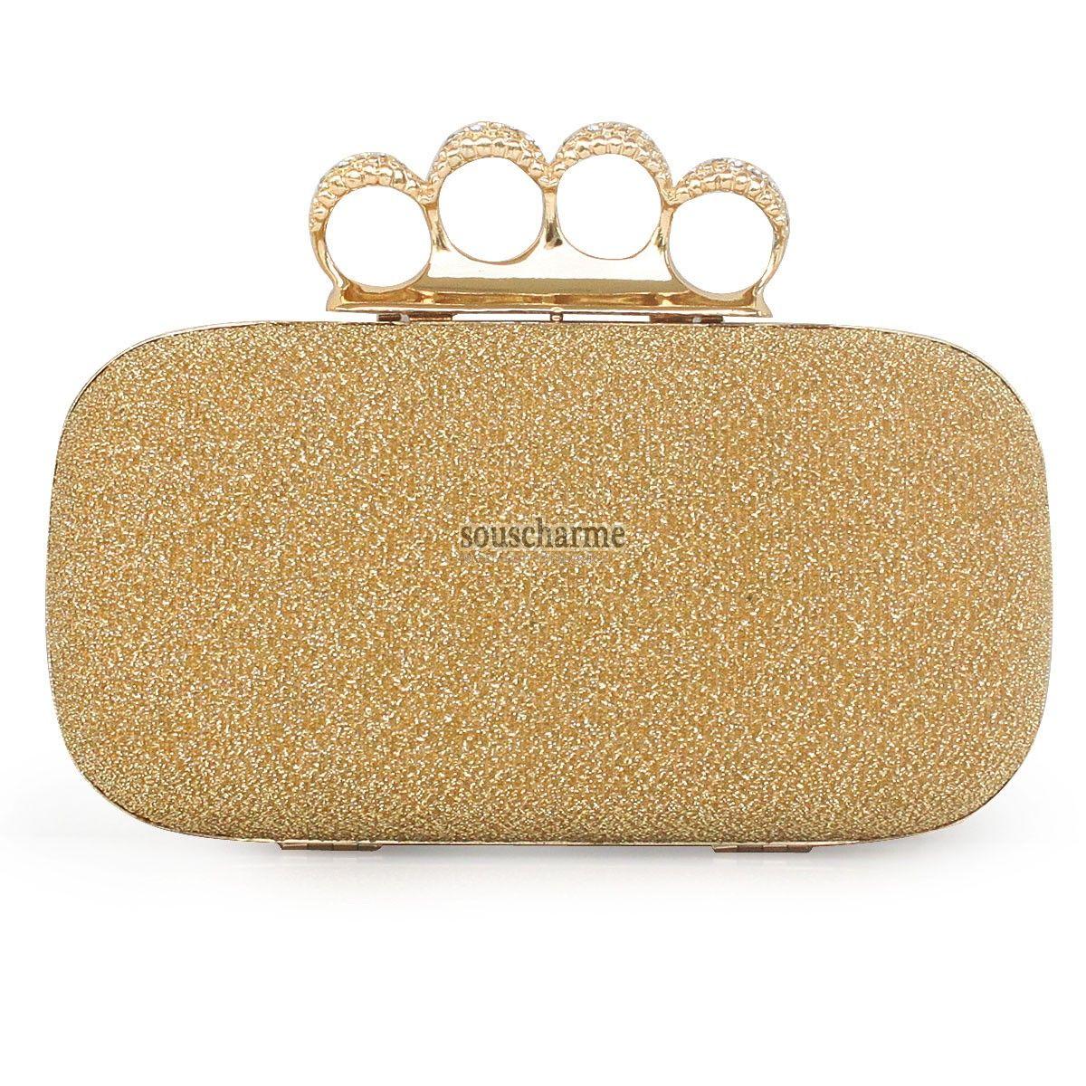 b281afc5f3 Pochette soirée dorée sac pas cher portefeuille femme rectangulaire  scintillante avec fermoir 4 cerceaux aux strass