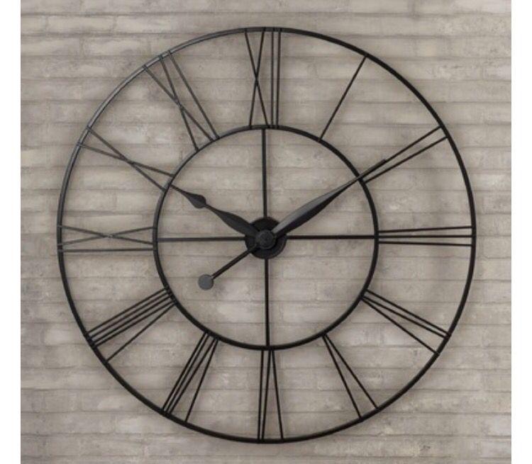 Large Metal Clock Restorationhardware Decor Metaldecor Clock Fireplacedecor Classic Design Oversized Wall Clock Clock Decor Big Wall Clocks