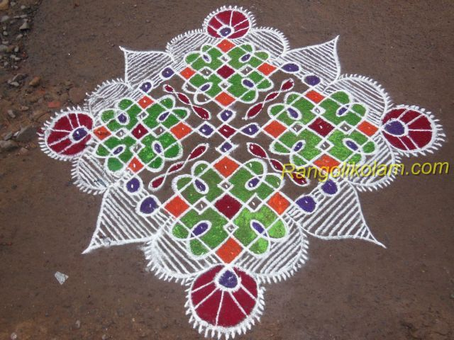 Step 1 2 3 4 This Kolam Start With 15 Dots And End