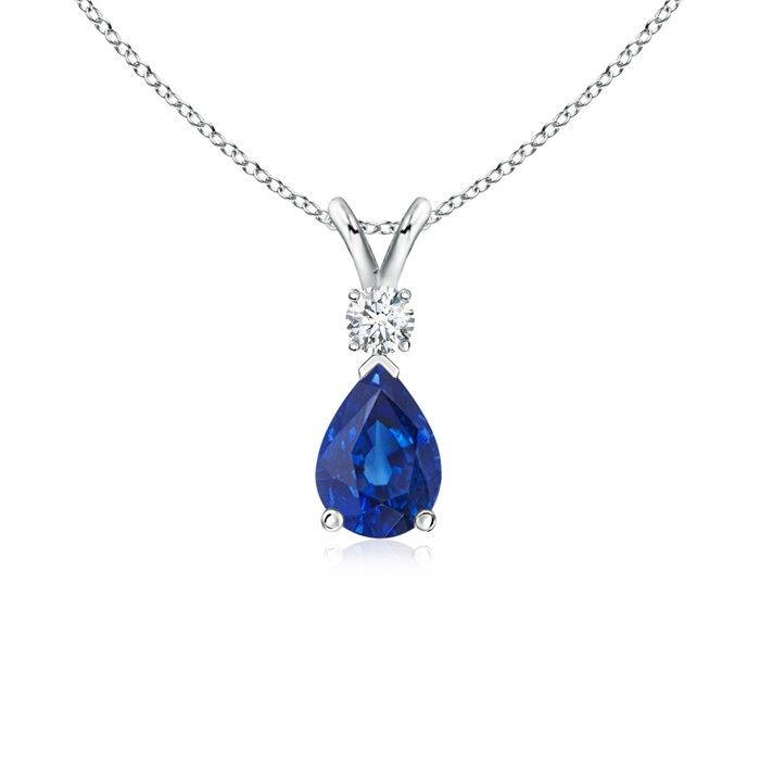 Angara Solitaire Pear-Shaped Blue Sapphire Flame Pendant vJcZDP