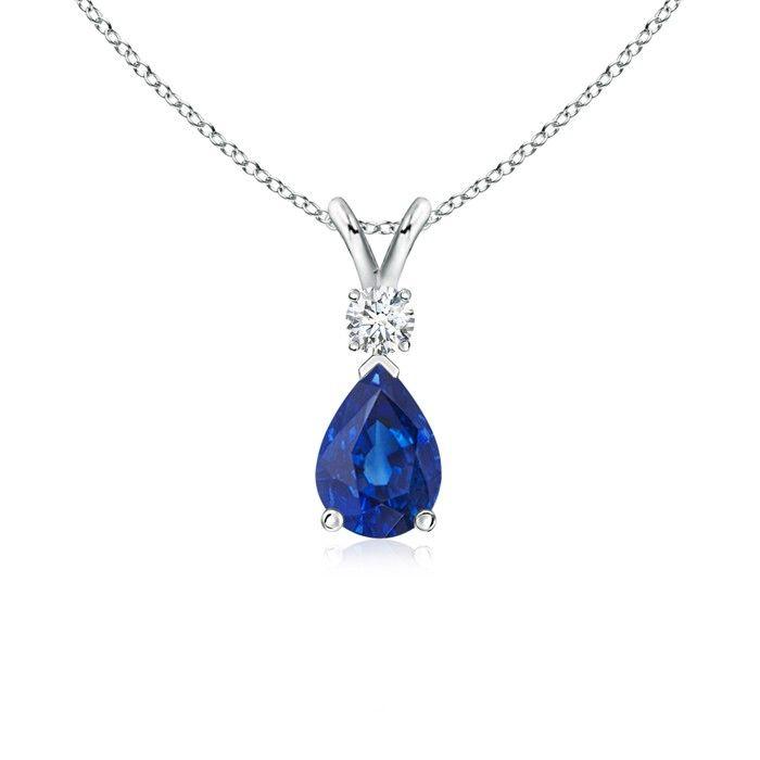 Angara Solitaire Pear-Shaped Blue Sapphire Flame Pendant 0FtqEnSOi