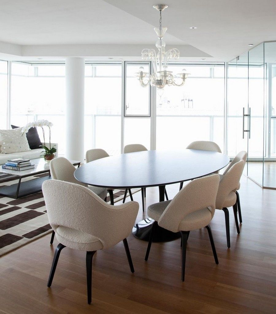Dining Room Contemporary With Black Oval Tulip Table And White Upholsterd Saarinen Arm