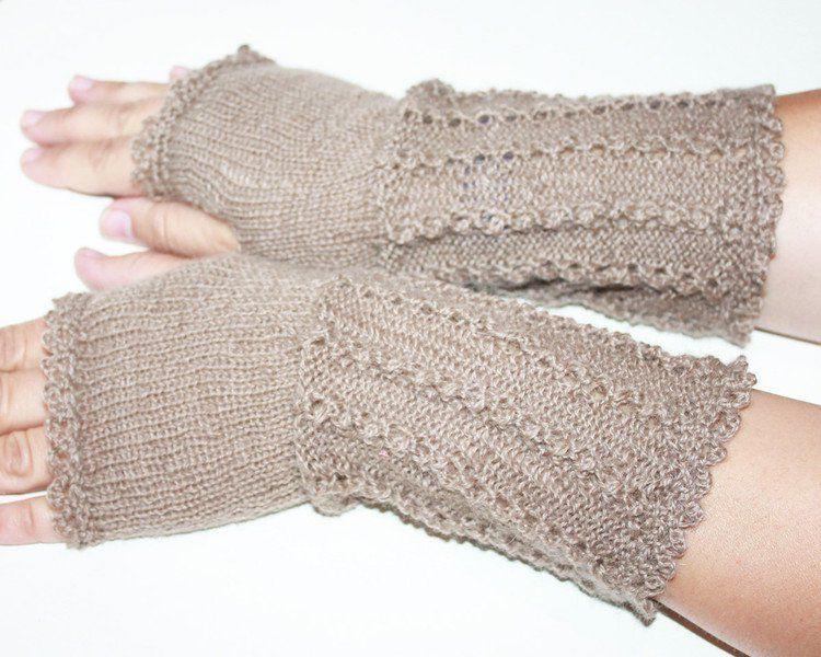 Armstulpen Vintage Stulpen Mit Daumenloch Handschuhe Natur Ein