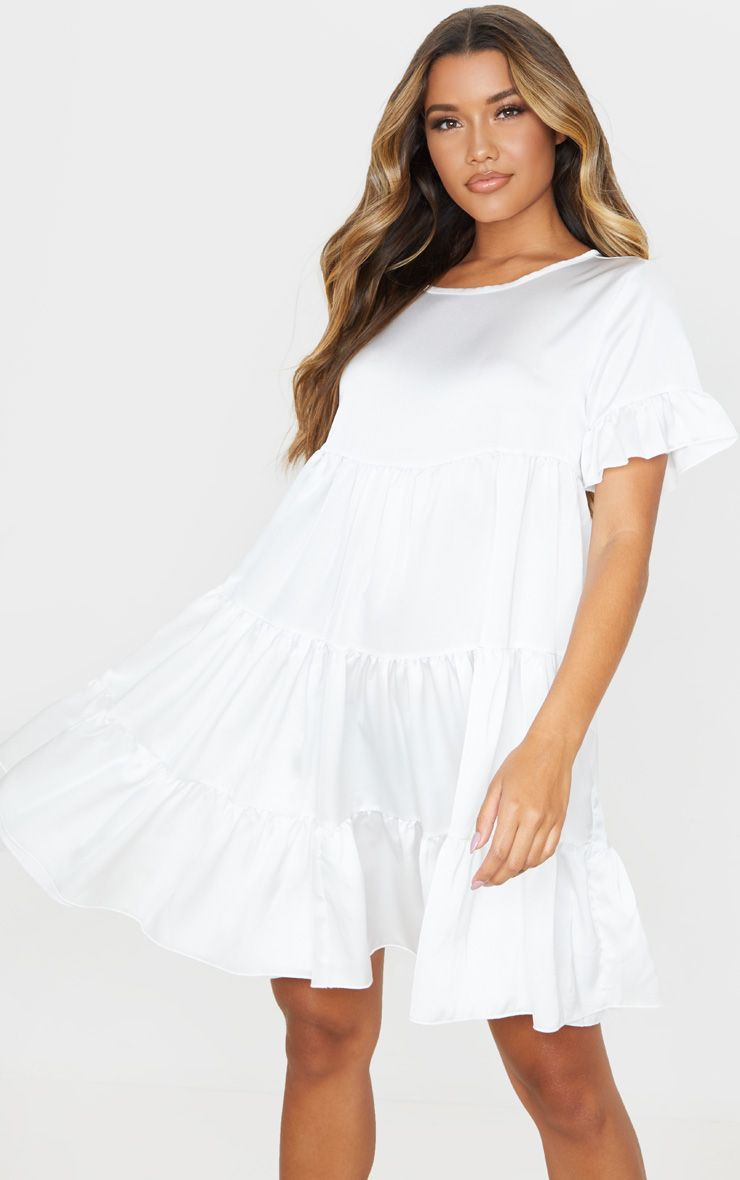 White Frill Sleeve Tiered Smock Dress Smock Dress Dresses Fashion Clothes Women [ 1180 x 740 Pixel ]