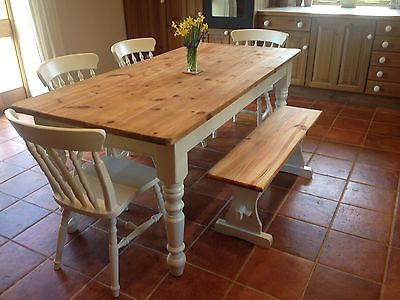 Large Chunky Farmhouse Dining Kitchen Table 4 Chairs Bench Shabby Chic Dining Table In Kitchen Farmhouse Style Dining Room Farmhouse Dining Table
