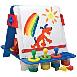 My Tabletop Easel by Alex Toys features a double-sided easel with a chalkboard on one side and wipe-off board on the other. http://www.educationaltoysplanet.com/my-tabletop-easel.html