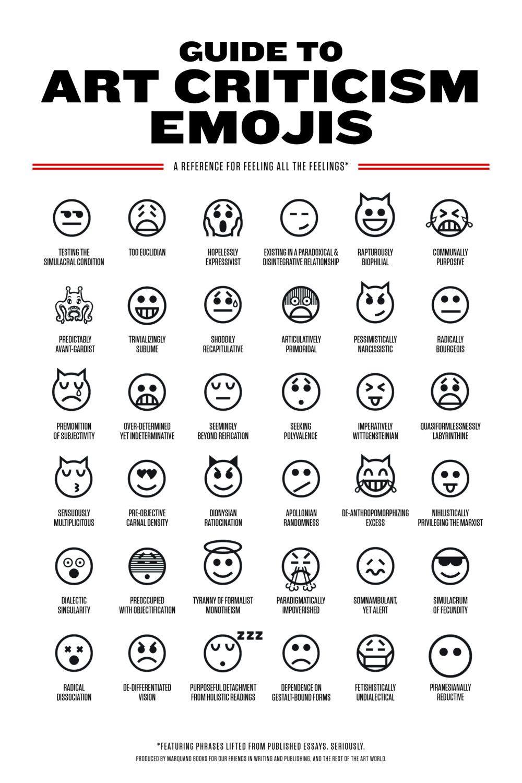 Guide to art criticism emojis ! | Art criticism, Criticism, Art