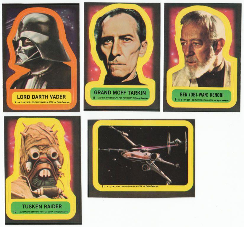 Star wars trading card series 1 sticker set 1977 topps